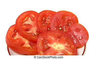 Slices of tomato.