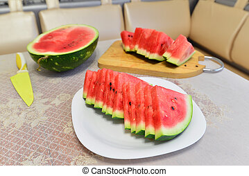 slices of watermelon on a plate at the table