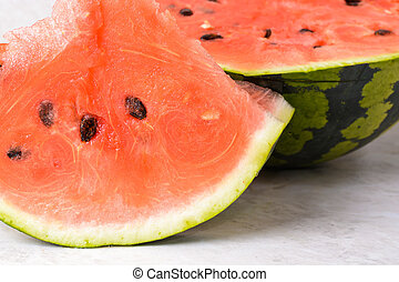 Slices of watermelon on the table