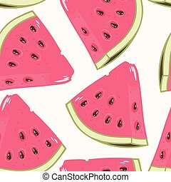 Slices of watermelon seamless pattern
