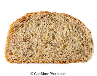Slices of wholegrain bread isolated on white background closeup
