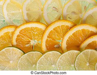 Slices orange, lemon and lime .