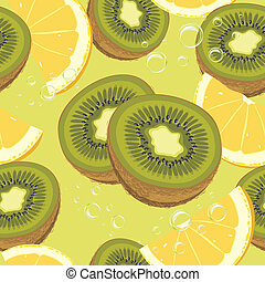 Slices ripe orange and kiwi fruit