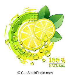 Slices yellow lemon with drops and leaf