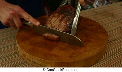 Slicing Flank Steak - Slicing savory flank steak,