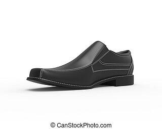 Slick black leather moccasin - closeup studio shot