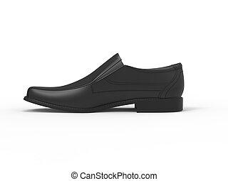 Slick black leather moccasin - side view