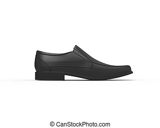 Slick black leather moccasins - side view