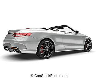 Slick silver modern luxury convertible car