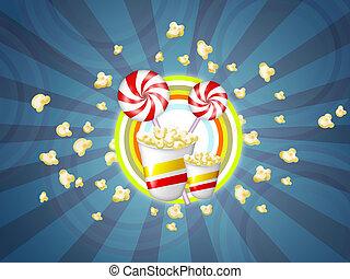 slickepinne, godis, popcorn