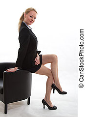 slide, branche kvinde, holdning, lys, tøjsæt