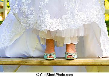 slide, brud, sko, bryllup