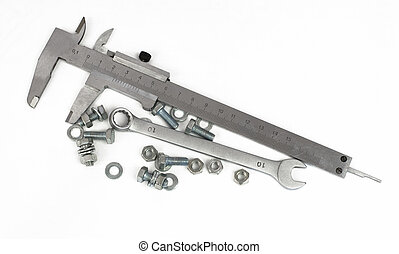Slide caliper, spanner, nuts and bolts