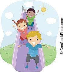 Slide - Illustration of Kids Playing with a Slide