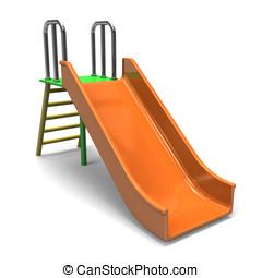Slide - Lovely slide.3D render illustration. Isolated on...