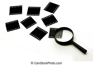 Slide film and magnifier glass, concept