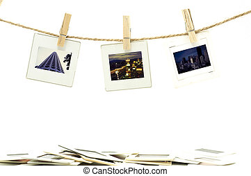 Slide film photo frames with hanger on rope with white background