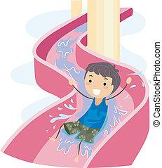 Slide Kid - Illustration of a Kid on a Water Slide