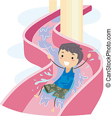 Slide Kid - Illustration of a Kid on a Water Slide
