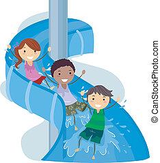 Illustration of Kids on a Water Slide