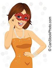 slide, kvinde, karneval masker, gorgeous, smil