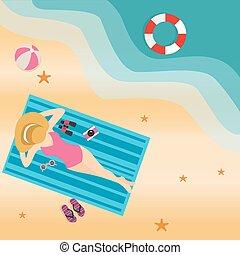 slide, kvinde, sol, top, sand, garvning, pige, hat strand, ...