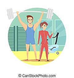 slide, kvinde, sunde, gymnastiksal, muskuløse, sportsudstyr, sexet, sport, mand