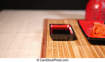 Slide Motion of Sushi Food Served on Platter - Slide motion...