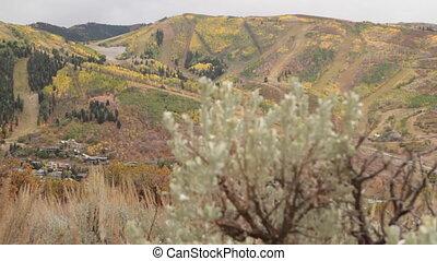 slide rail shot to reveal small mountain town