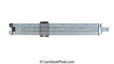 slide rule, isolated on white, with path