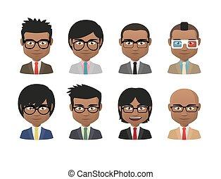 slide, sæt, mænd, unge, indisk, avatar, tøjsæt, glas