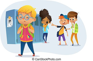 slide, school., pege, boy., sørgelige, afrejse, bulling, gælle, obese, owerweight, krop tykke, drenge, illustration, througs, shaming., shaming, dreng, skole, vektor, le, skhool., glas
