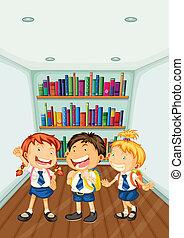 slide, skole kids, tre, deres, uniformer