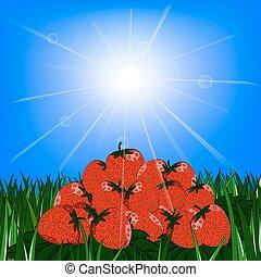 slide strawberries on the grass