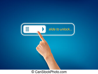 Slide to unlock - Hand pointing at a Slide To Unlock Icon on...
