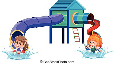 Slide water park on white background