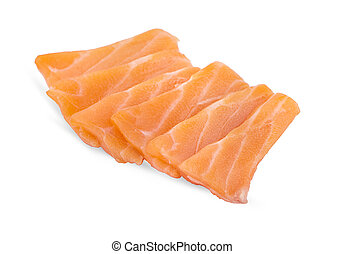 slided, salmón, sashimi, crudo, plano de fondo, blanco