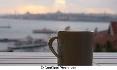 """Slider, dolly coffee cup, background sultanahmet istanbul..."