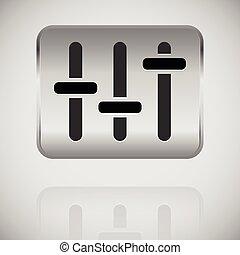 slider, fader, potentiometer icon on metal plate.
