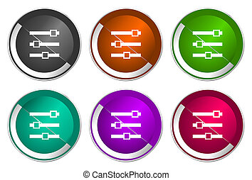 Slider icon set, silver metallic web buttons