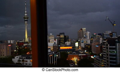 Auckland skyline New Zealand - Slider motion over Auckland...