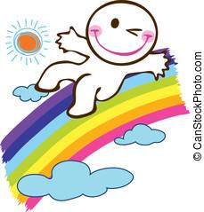 slider on rainbow - Boy slider on the rainbow in the sky