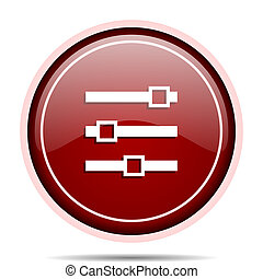 Slider red glossy round web icon. Circle isolated internet button for webdesign and smartphone applications.