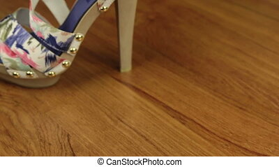 Slider shot. Stylish classic women's sandals shoes with high heels. Copy space.