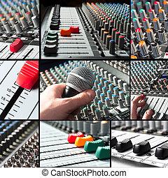 sliders, microfone, tileset, misturador, áudio