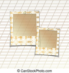 Slides with handmade ornaments for photos on white abstract...