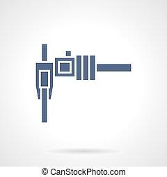 Sliding caliper glyph style vector icon - Sliding caliper or...