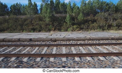 Sliding camera over railway - Side view sliding camera over...