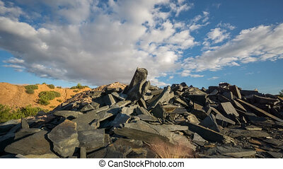 Sliding camera Time Lapse of Abandoned slate mine waste...