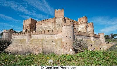 Sliding camera time lapse of La Mota Castle - Wide angle...